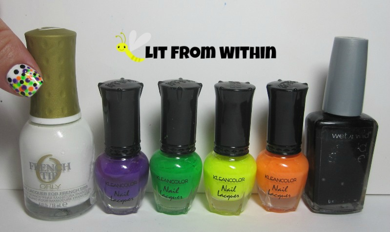 Bottle shot:  Orly Point Blanche, Kleancolor Neon Purple and Green, Funky Yellow, and Mango, and Wet 'n Wild Black Creme.