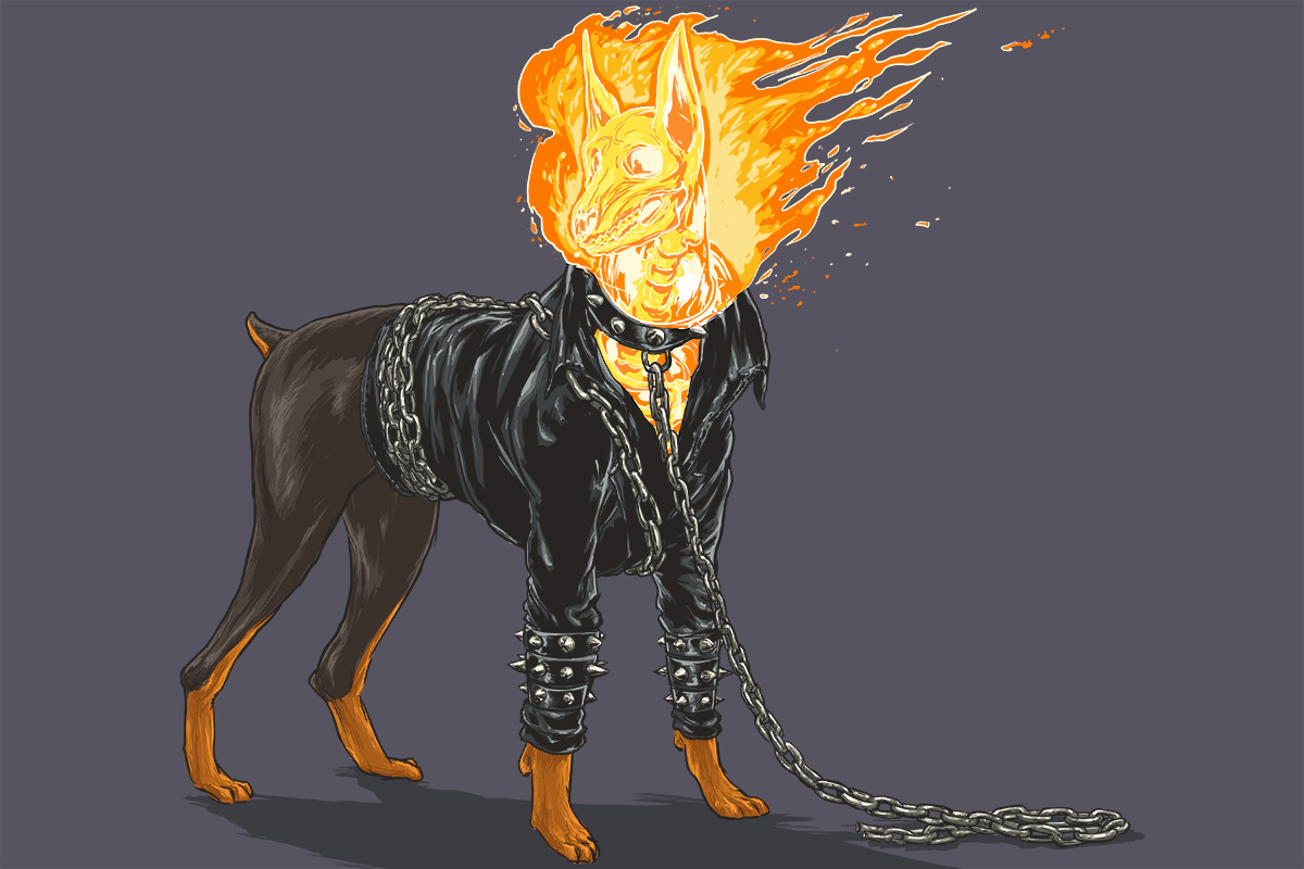 03 Ghost-Rider-Josh-Lynch-Illustrations-of-Dogs-with-Marvel-Comic-Alter-Egos-www-designstack-co