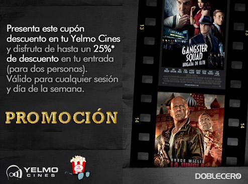 Promoción descuento cupón 25% descuento en Yelmo Cines