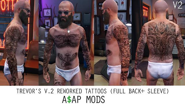 Pack de Tatuagens para Trevor Franklin e Michael para GTA 5