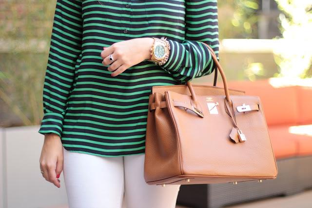 hermes birkin, j. crew stripe shirt, birkin, hermes purse