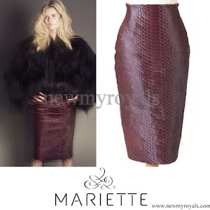 Crown Princess Mette-Marit Style MARIETTE Bordeaux Anaconda Skirt & Top