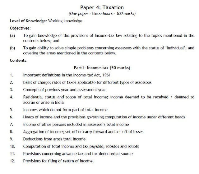 PAPER 4 - CA IPC TAXATION SYLLABUS