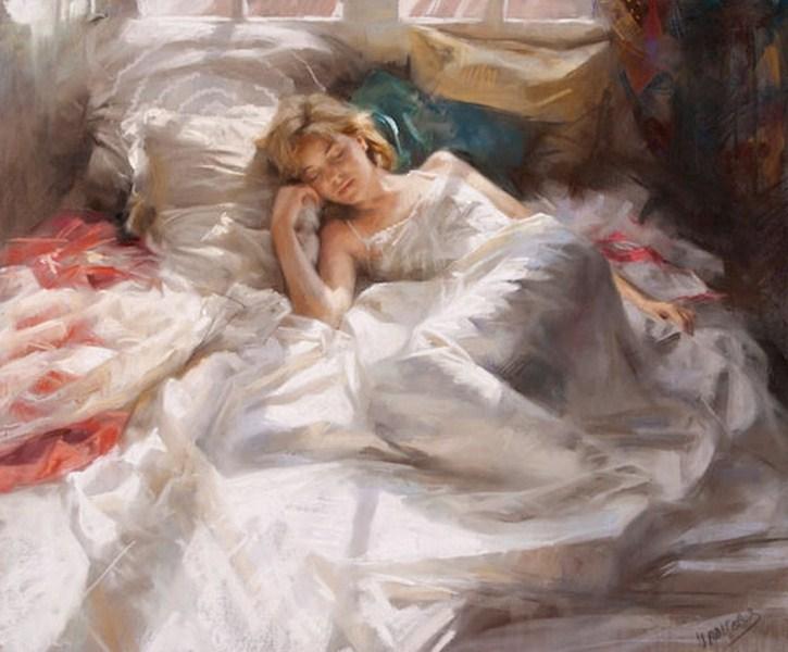MUJERES DORMIDAS Cuadros+de+figura+humana+pintados+con+pastel+++++