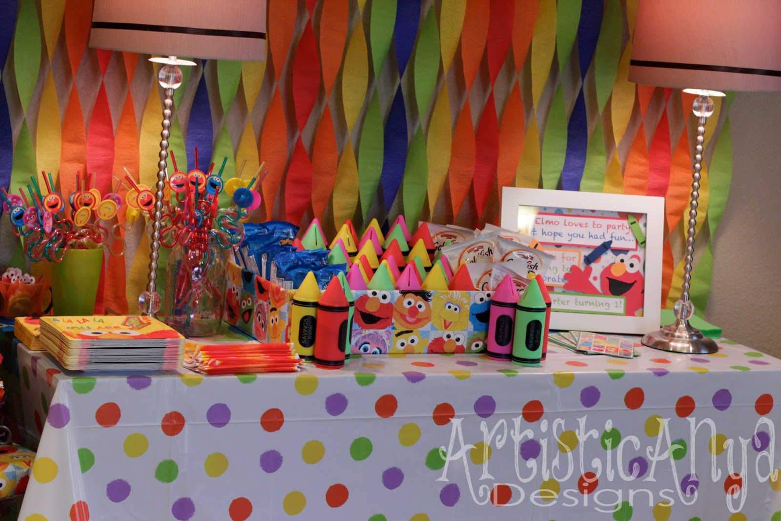 Elmo 1st birthday party ideas birthday party sesamestreet -  Street Theme For His 1st Birthday I Wanted To Make Everything Colorful And Fun For His Big Day From Rainbow Cupcakes Streamers Balloons