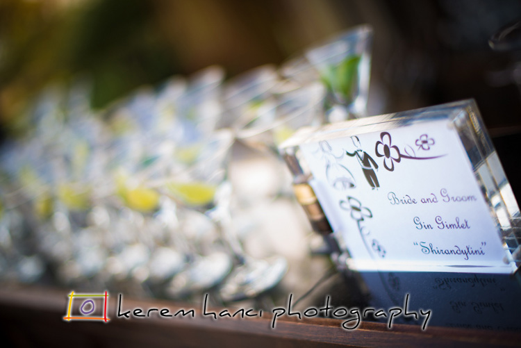 A delicious gin gimlet offered to guests by the bride and groom