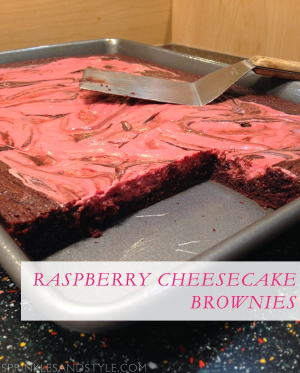 Raspberry Cheesecake Brownies || Sprinkles and Style