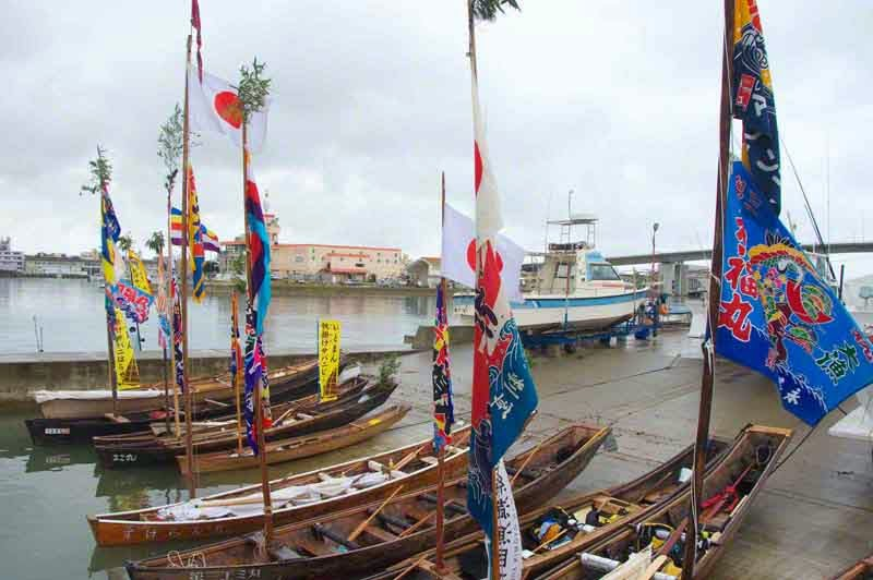 sailing sabani boats docked in Itoman Harbor
