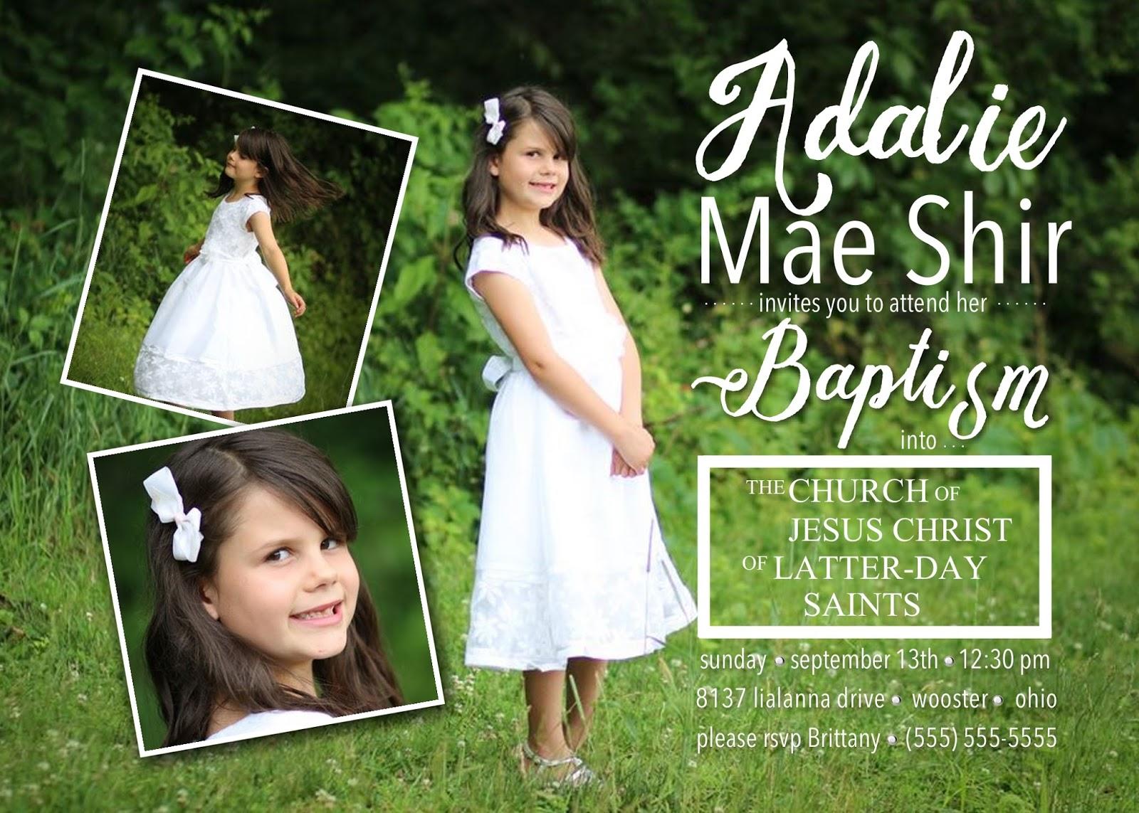 what  teach me lds girl baptism invitation, Baptism invites