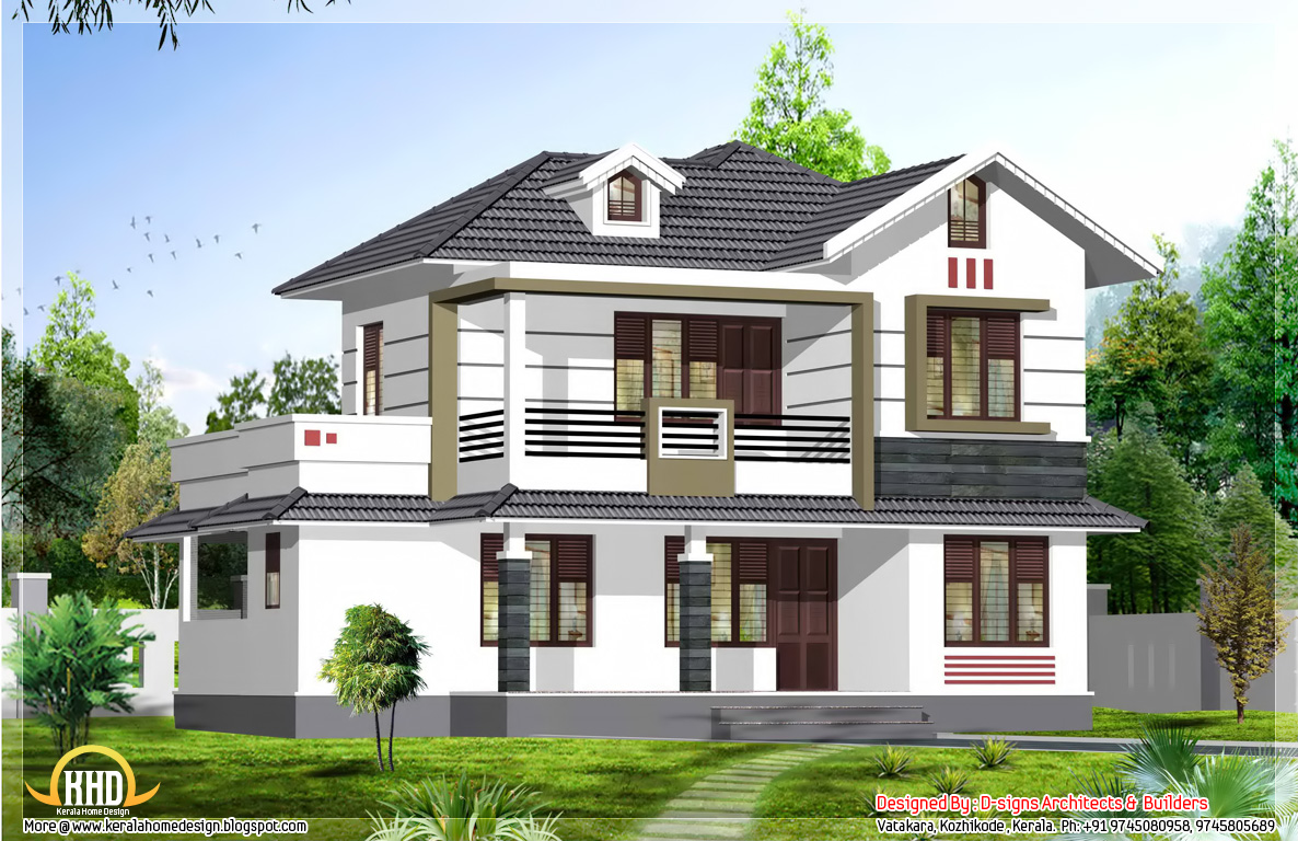 Stylish kerala home design 1950 sq ft kerala home for New home designs 2015
