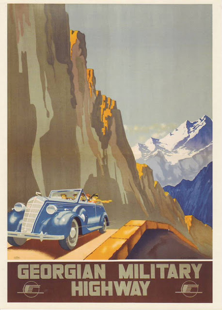 1935 Cartel Soviético de Turismo Vintage, Carretera Militar de Georgia