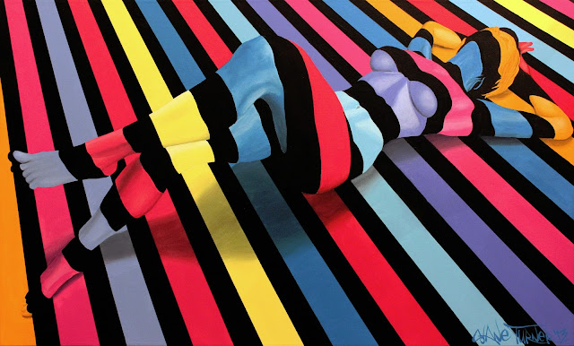 Surreal colorful painting by Montreal based artist Shane Turner of illusion of woman lying on ground made of colorful stripes.