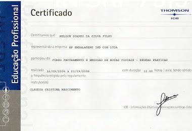 CERTIFICADO DO CURSO DE FATURAMENTO