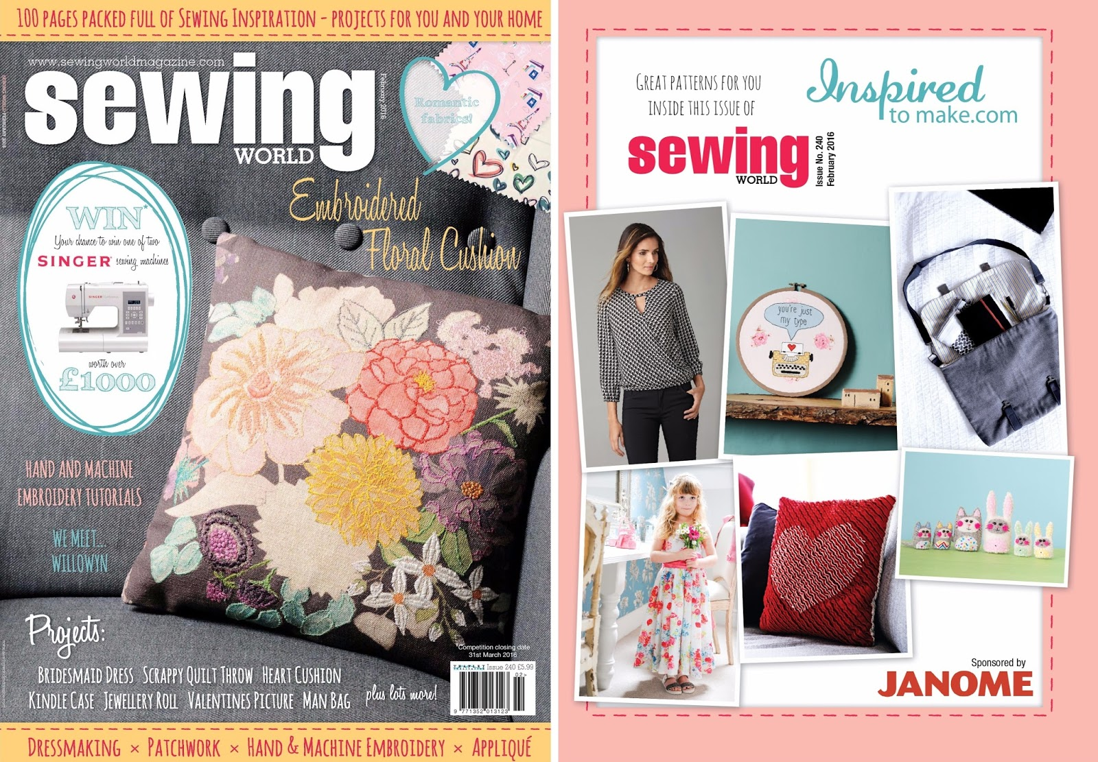 Sewforsoul youre just my type appliqued hoop art februarys sewing world magazine is in the shops now and features my appliqued typewriter hoop art jeuxipadfo Choice Image
