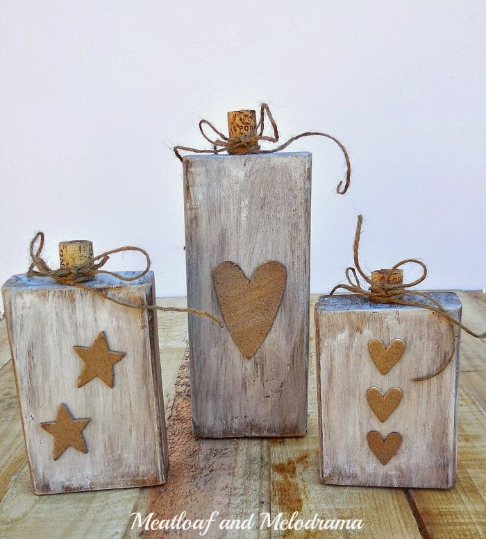 rustic white wood pumpkins made from 2 x4 wooden blocks