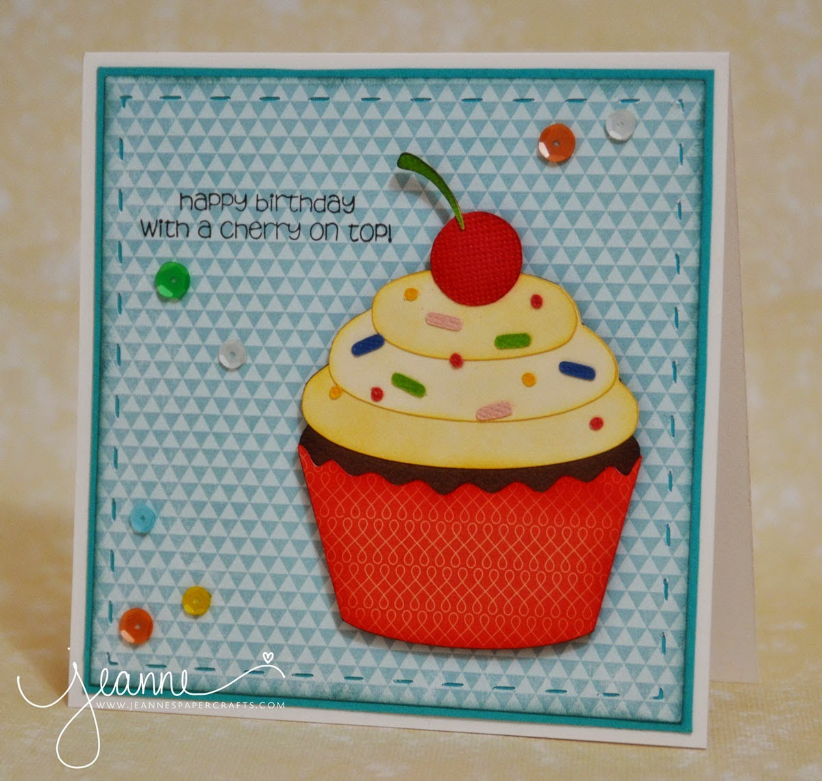 Jeannes paper crafts happy birthday with a cherry on top i used the stitched shapes cut files to create the layer for my background the card is a 5x5 inch square card jeuxipadfo Gallery