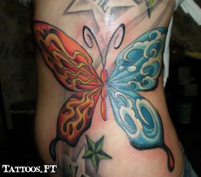 Tatuagens Borboleta duas cores na costela