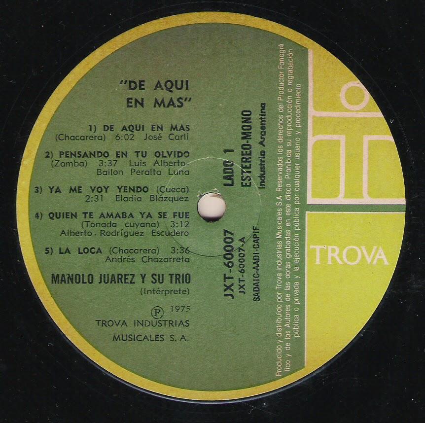 Manolo Juarez y su Trio - De aquí en más (1975)