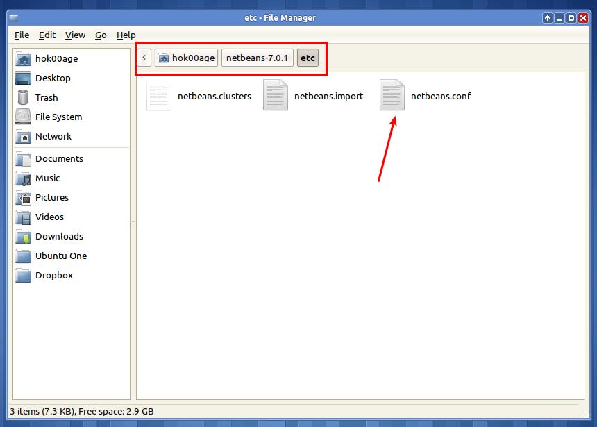 Lokasi file netbeans.conf