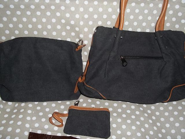 eshow borsa da donna di tela da spalla set di tre pezzi