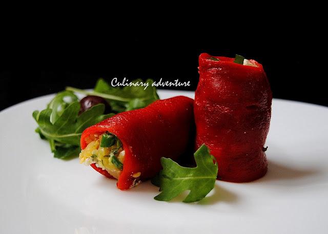 Пиперени рулца с мачкана картофена салата / Pepper Rolls with herb potato salad