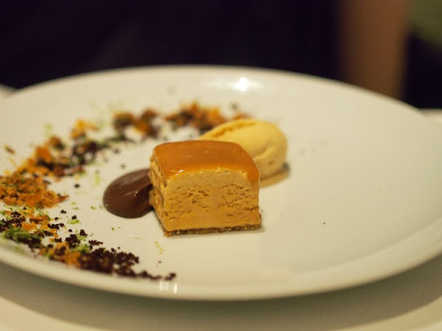 hazelnut sponge with coffee ice cream