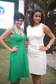 Mandira Bedi and Gul Panag at Tetley Green Tea Re Launch Event In Mumbai
