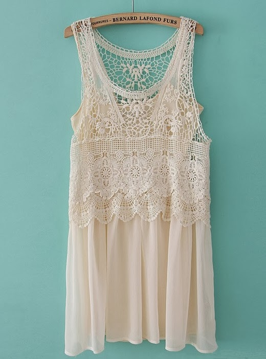 White Beige Sleeveless Lace Crochet Chiffon Dress