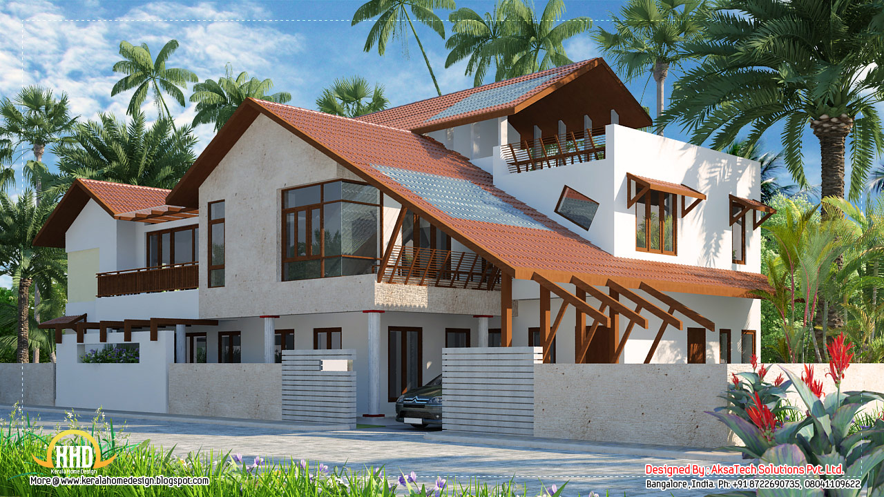Modern contemporary home elevations by Aksatech Solutions , Bangalore ...