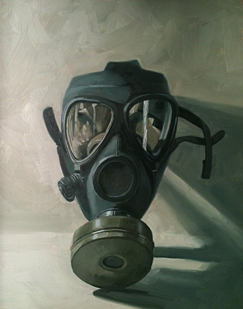 daily painting gas mask 11x14