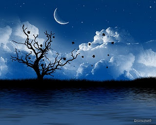 A tree with crescent moon shape and cloud background Halloween wallpaper