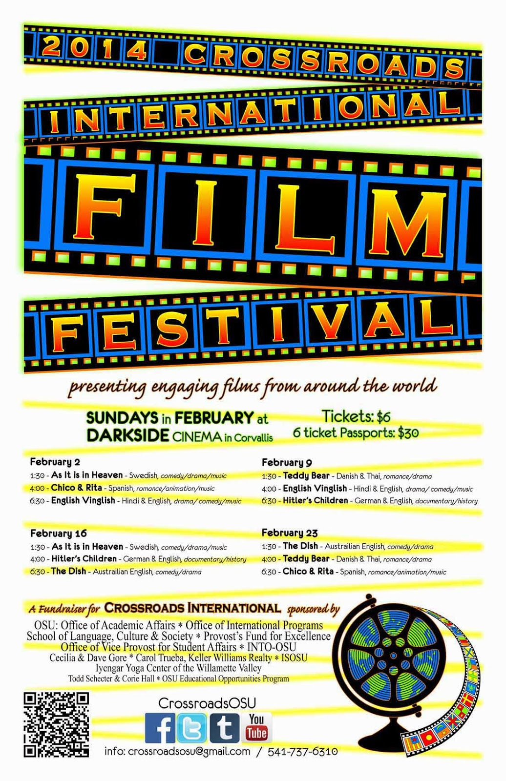 presenting engaging films from around the world Sundays in February 2014 at the Darkside Cinema in Corvallis, Oregon.