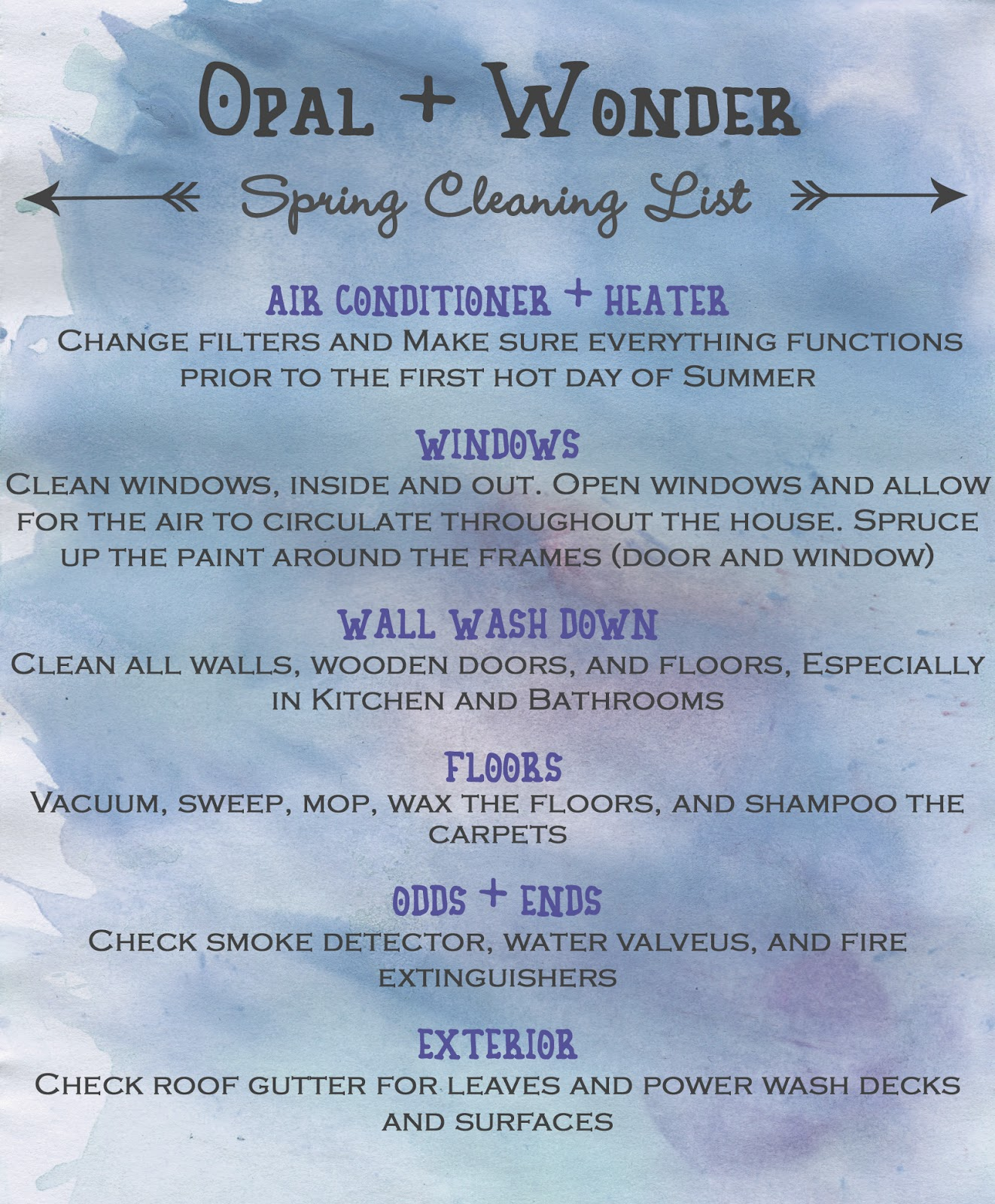 Opal + Wonder: Spring Cleaning: To Do List