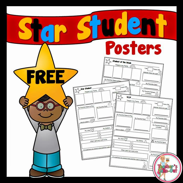teachers takeout star student poster freebie