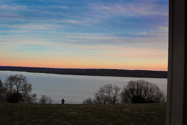 Sunset over Potomac from Mount Vernon's front portico