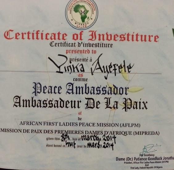 yinka ayefele first lady ambassador