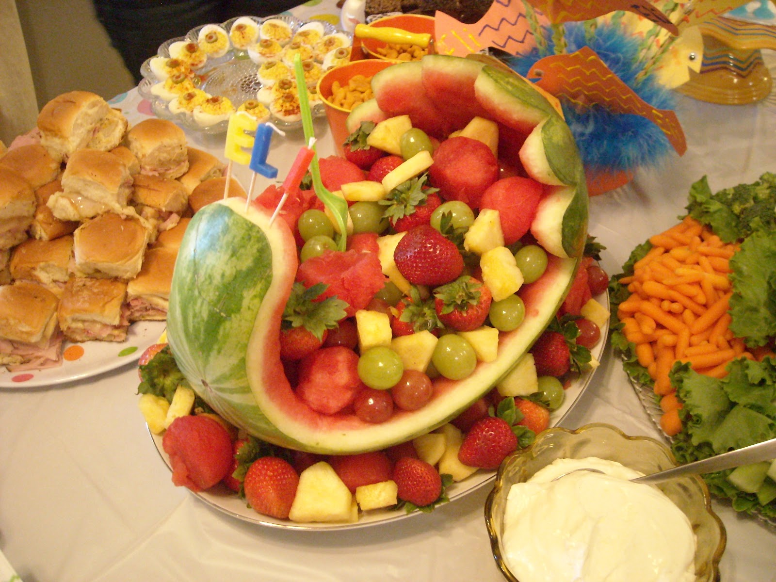 next we had the baby carriage fruit bowl