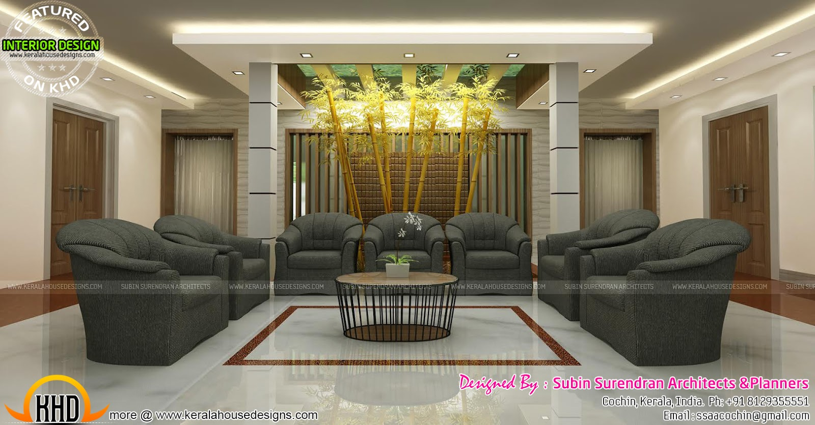 Living rooms modern kitchen interiors in kerala kerala for Drawing room interior design photos