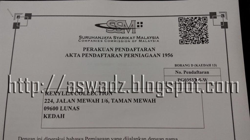 suruhanjaya syarikat malaysia, ssm, pendaftaran, rexylla
