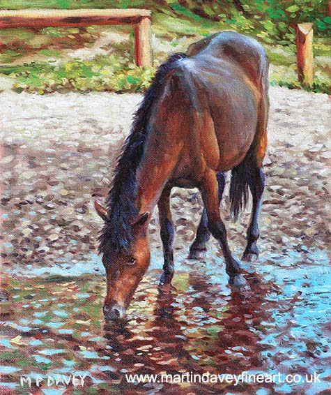 Brown Horse drinking from stream-oil painting