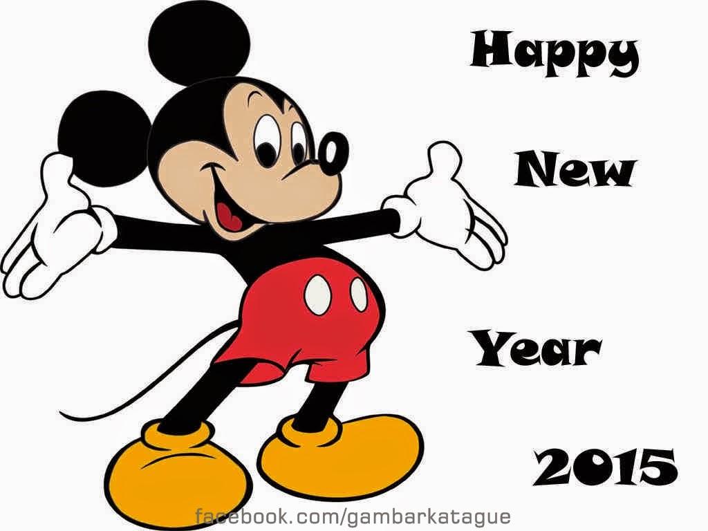 Gambar DP BBM spesial Tahun Baru 2015 tema Mickey Mouse