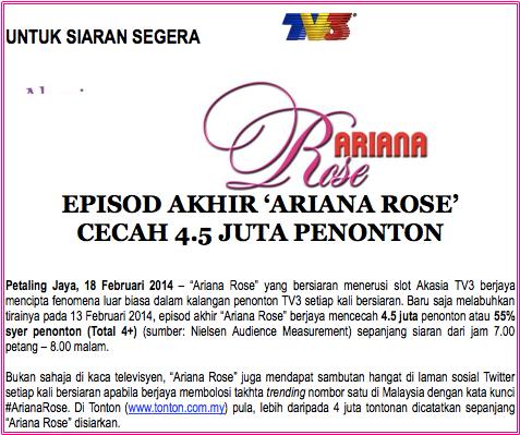 ending Ariana Rose catat 4.5 juta penonton, Ariana Rose catat 4.5 juta penonton