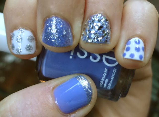 Essie's Lapis of Luxury with Polka Dots and silver glitter nail polish