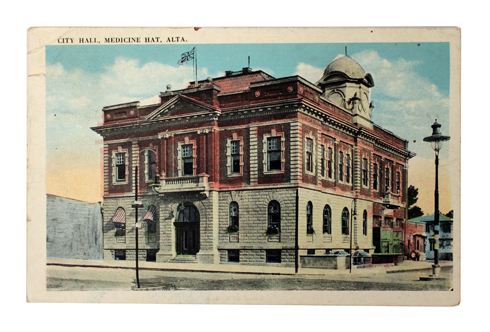 original medicine hat city hall postcard