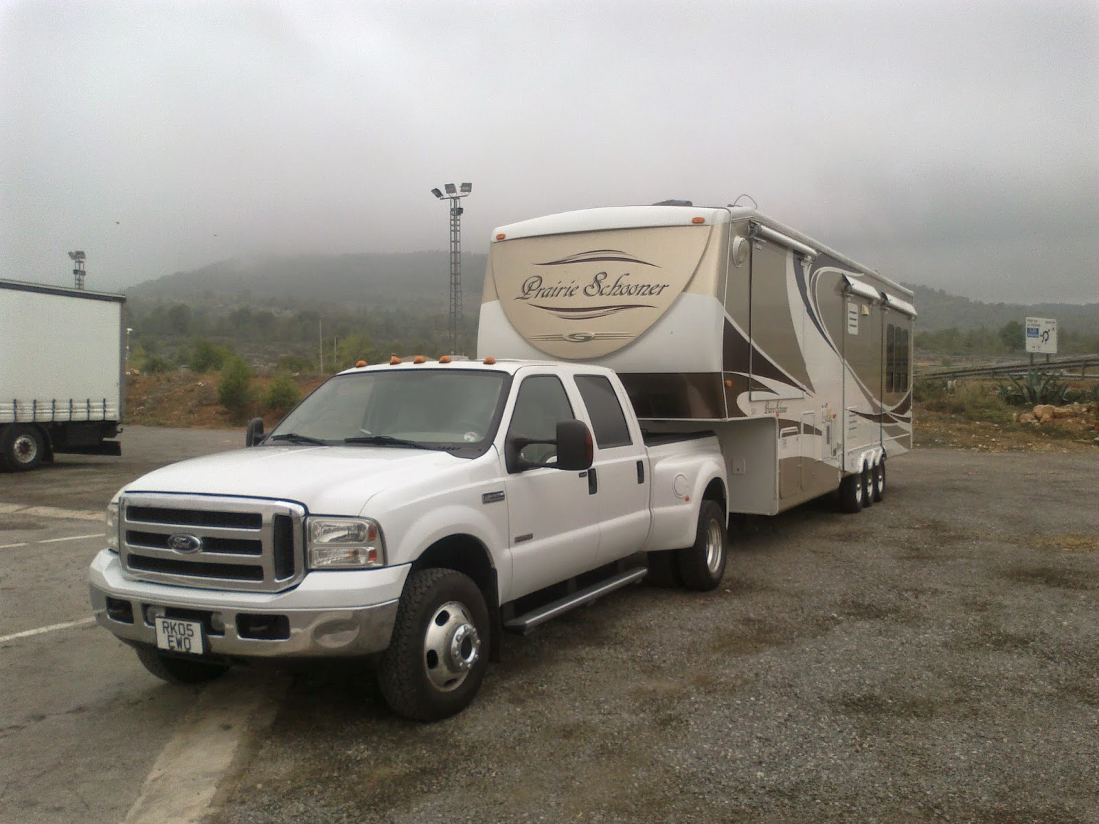 F350 and 5th wheel in the Pyrenees