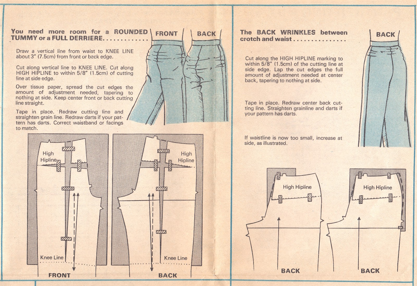 Cation designs sewing pants is easy altering your pants pattern for a rounded tummy or full derriere or swayback jeuxipadfo Image collections