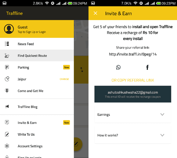 Get freecharge promo codes by installing Traffline app