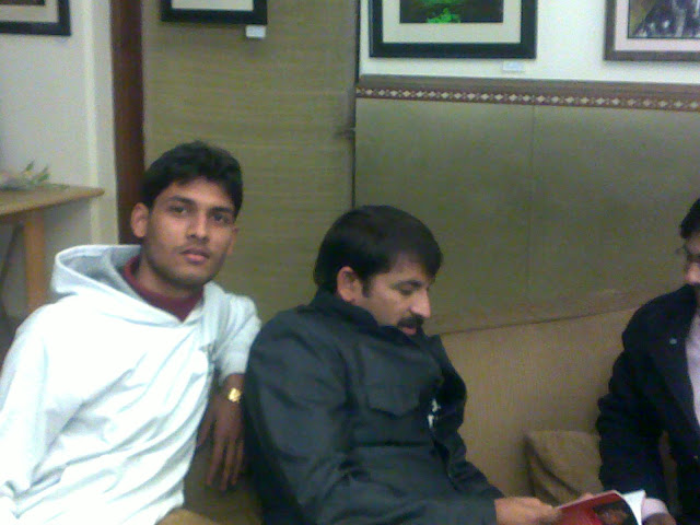 Anshu Dikshant with Bhojpuri Singer and Actor Manoj Tiwari and Bhojpuri Poet Manoj Bhawuk
