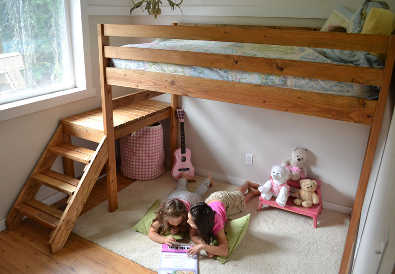 DIY Loft Bed with Stairs 800 x 556