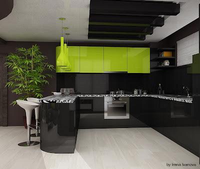 Дневна и кухня в зелено и черно